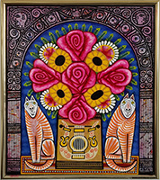 Rex Clawson Cat and Flowers