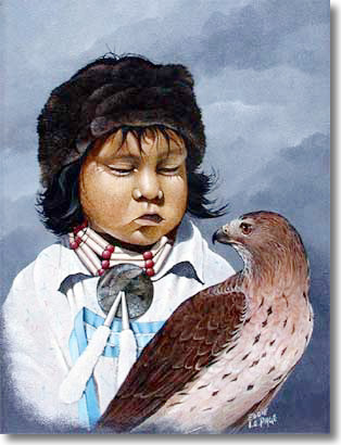 Eddie LePage Boy With Hawk